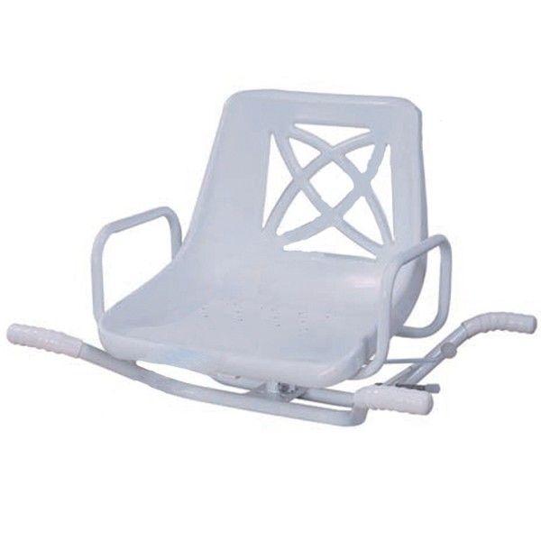 ASIENTO GIRATORIO DE BAÑERA - REF: 3420586: Se trata de una silla de alta seguridad. Su estructura es de acero y el asiento de PVC. Se sujeta a la bañera mediante unas barras de seguridad.