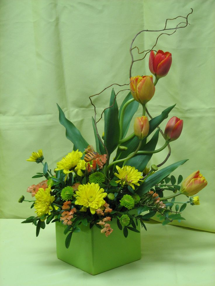 Fun with tulips and willow.