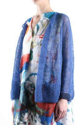 SALE - EURO 610 cardigan in hand worked linen mesh - DANIELA GREGIS