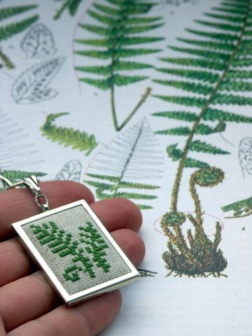 hand embroidered pendant with green fern by BelaStitches on Etsy