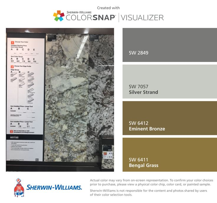 I found these colors with ColorSnap® Visualizer for iPhone by Sherwin-Williams: Westchester Gray (SW 2849), Silver Strand (SW 7057), Eminent Bronze (SW 6412), Bengal Grass (SW 6411).