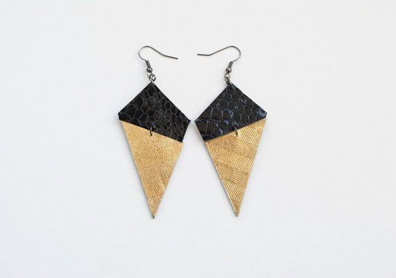 Geometric earrings leather earrings black and gold by elfinadesign