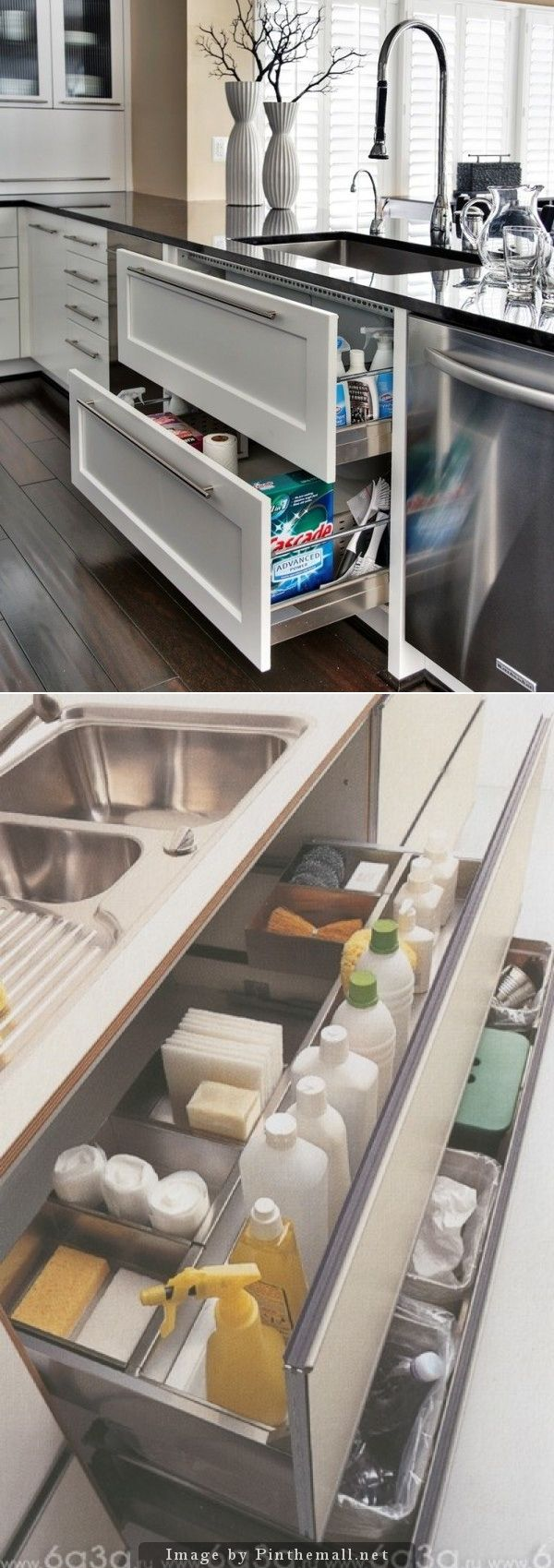 U   Under Sink Two Drawers, Recycle And Trash On The Bottom. Do Not Need  All Compartments On Top But Need Some For Cleaning Supplies And Dishwasher  ...
