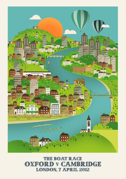 Love this illustrated poster of the Oxford and Cambridge boat race (2012 was one to remember!) by Neil Stevens =)