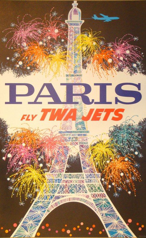 VINTAGE TWA ADVERTISING POSTERS PARIS During the 1950s and 1960s, David Klein designed and illustrated dozens of posters for Howard Hughes' Trans World Airlines (TWA). They remain the iconic images of the Jet Set Era.