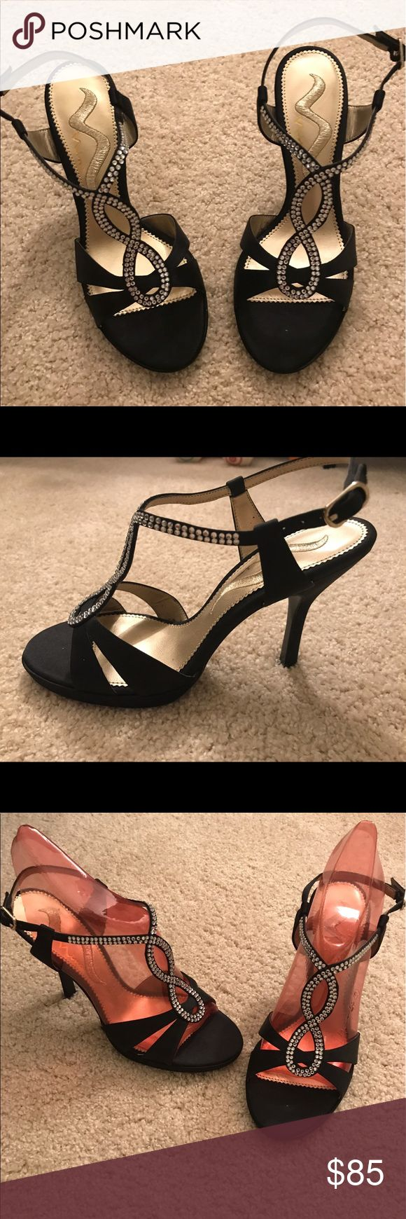 Nina Black and Sparkle Shoes Nina Black and Sparkle Heels. Never worn. Beautiful strappy heels for a night out!***ITEM SOLD AS IS*** Nina Shoes Heels