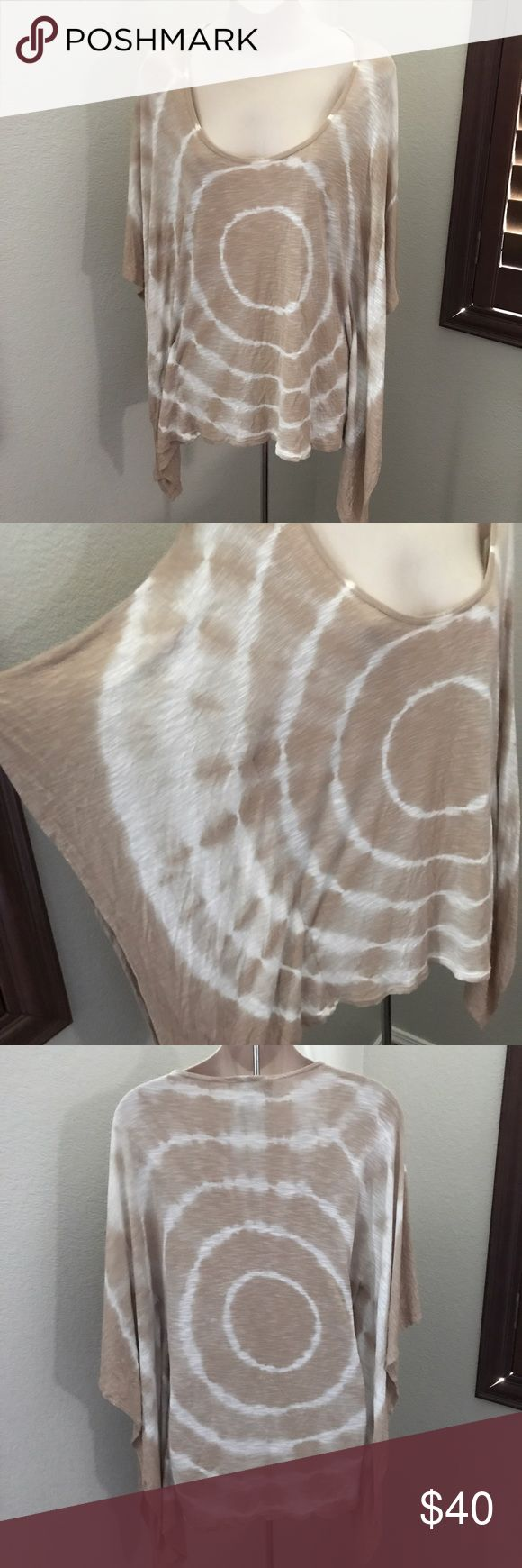 "Young Fabulous & Broke Tie Dye Batwing Shirt XS This is a Young Fabulous and Broke tie dye shirt. Oversized fit with batwing sides. Size extra small. Beige and white. Bust 38"" length 29"". Never worn. Perfect condition. Young Fabulous & Broke Tops Tees - Short Sleeve"