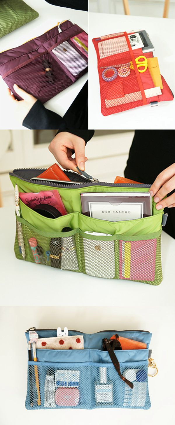 It's slim but you'd be surprised how many items can be stored in this organizer! It's perfect for organizing your daily items and also great for your travel items! Your purse, backpack, briefcase and travel bag will stay clean and organized with the Slim Purse Organizer!