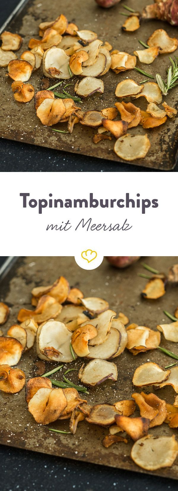 Diese super knusprigen Chips werden aus Topinambur hergestellt und sind von Natur aus fettarm. Für den Geschmack: Ein Topping aus Rosmarin und Salz.
