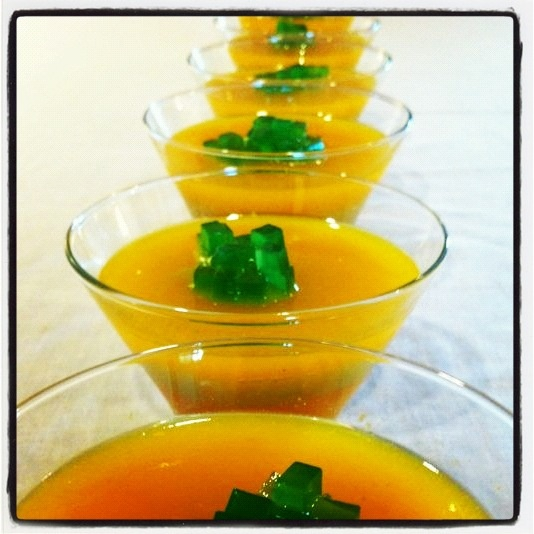 Mango, lulo & passionfruit Jelly with green tea toping