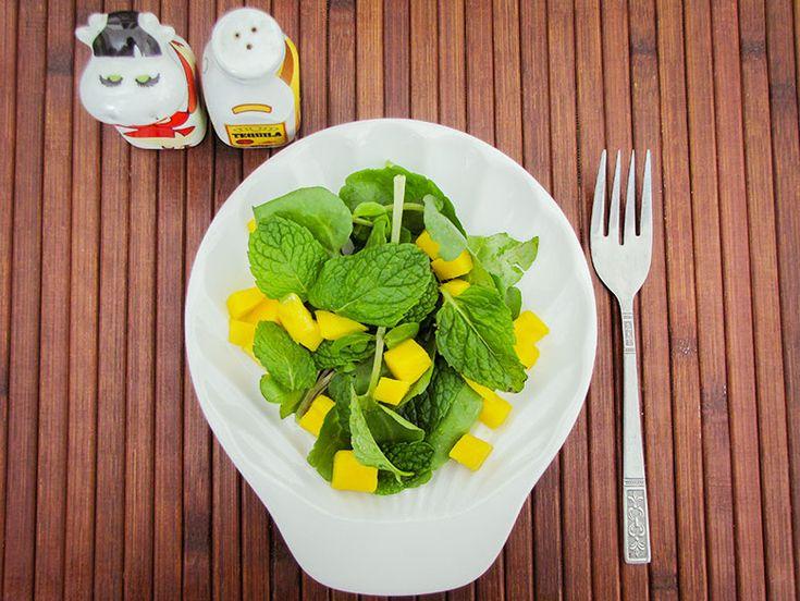 Salada de Agrião, Manga e Hortelã