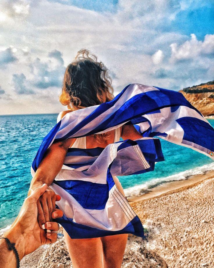 couple travelling together Porto Katsiki Beach Lefkada Greece
