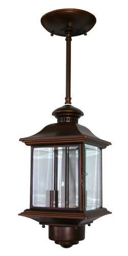 "Motion Sensor 14"" High Antique Bronze Outdoor Hanging Light by Universal Lighting and Decor. $129.99. This carriage-style outside hanging lamp offers great looks, plus the convenience of a built-in motion detector and dusk-to-dawn sensor. A handy security feature around garages and patios, the motion sensor has a 360 degree, 30 foot range. The design also comes with the Dual Brite two-level lighting feature, which brightens the light output from the light when motion i..."