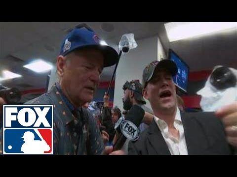 Bill Murray celebrates World Series win in Cubs locker room   2016 WORLD SERIES ON FOX - YouTube