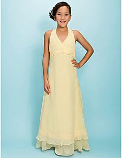 Floor-length Chiffon Junior Bridesmaid Dress - Daffodil A-line/Princess Halter/V-neck