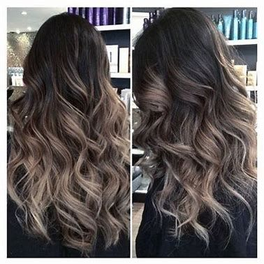 Image result for Dark Brown Hair with Balayage Ash Blonde