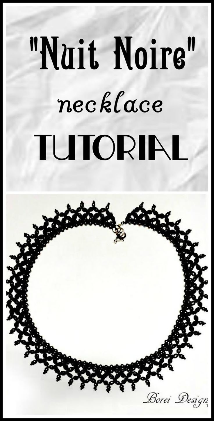 """Tutorial how to create a beautiful """"Nuit Noire"""" necklace.  Includes free pattern."""