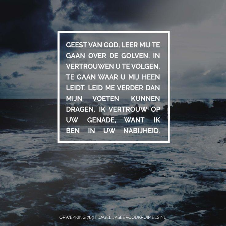 Geest van God, leer mij te gaan over de golven, in vertrouwen U te volgen te gaan waar U mij heen leidt. Leid me verder dan mijn voeten kunnen dragen. Ik vertrouw op uw genade, want ik ben in uw nabijheid. Opwekking 789 #HeiligeGeest, #Opwekking, #Volgen  https://www.dagelijksebroodkruimels.nl/opwekking-789/