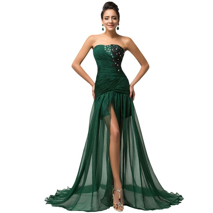 73aea55551 Grace Karin 2015 New Flowing Floor Length Long Beaded Dark Green Prom  Dresses Dancewear Sexy Formal Dress Vestido Festa W007570