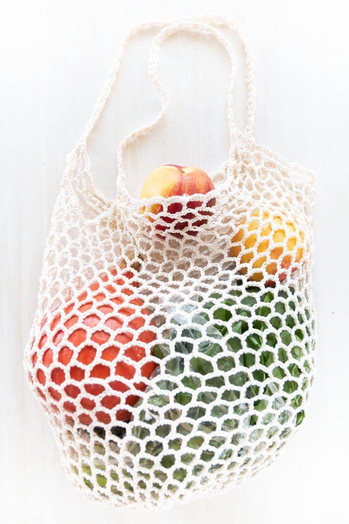 Netzbeutel Häkeln Wolle Statt Plastik Stricken Crochet