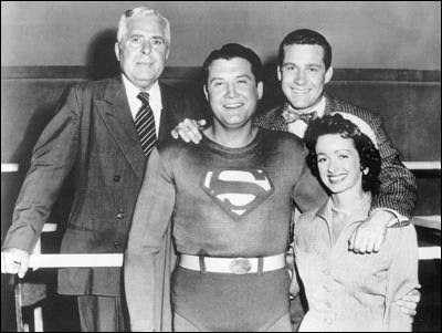The Adventures of Superman, ABC, 1953-1958. George Reeves/Clark Kent. Left to right, John Hamilton as Perry White, Jack Larson as Jimmy Olsen and Noel Neill as Lois Lane.  Phyllis Coates also played  Lois Lane.Jack Larson, Superman Tv, Childhood Memories, 1950S, Perry White, Superman 19521958, Noel Neill, George Reeves, Classic Tv