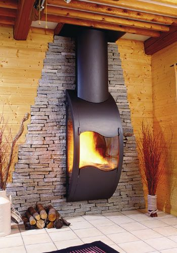 Love this fireplace...  Gaia modern fireplace is a lush and curvy creation by Arkiane.