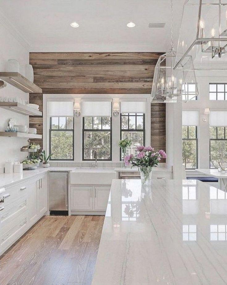 60 Awesome Modern Farmhouse Style Kitchen Makeover Decor Ideas Modern Farmhouse Kitchens Farmhouse Kitchen Design Farmhouse Style Kitchen