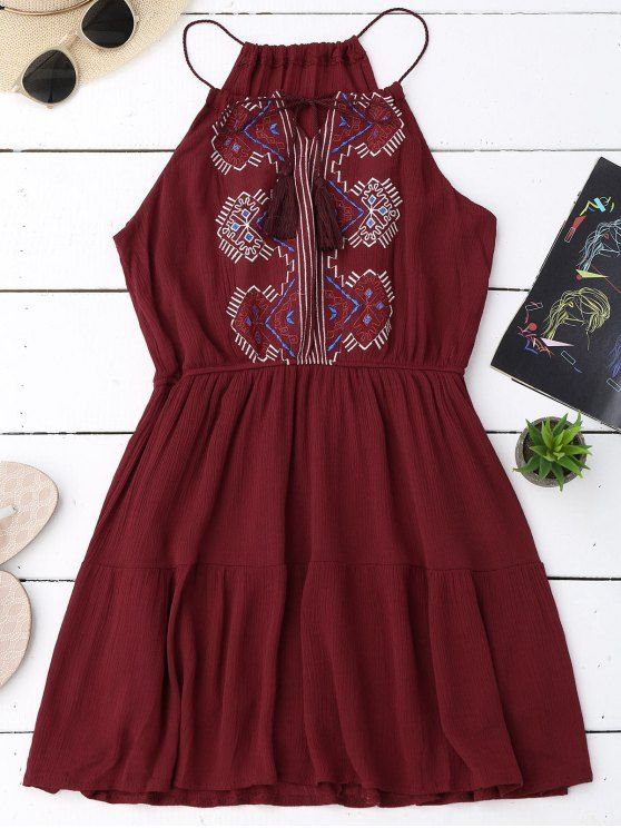Embroidered Tassel Sundress - WINE RED ONE SIZE