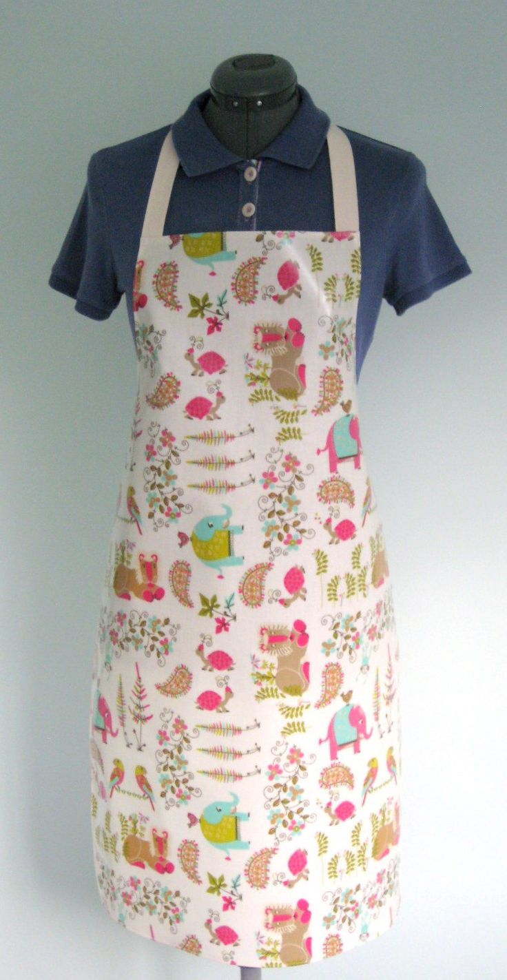 Waterproof Apron, Indian Summer Print Adult Oilcloth Apron, Glossy PVC Apron, Protective Apron by OneLeggedGoose on Etsy