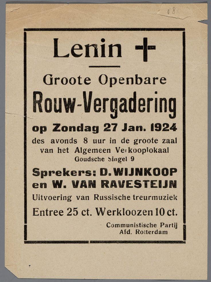 Dit is een aankondiging voor de rouwbijeenkomst van Lenin. Hij overleed in 1924.