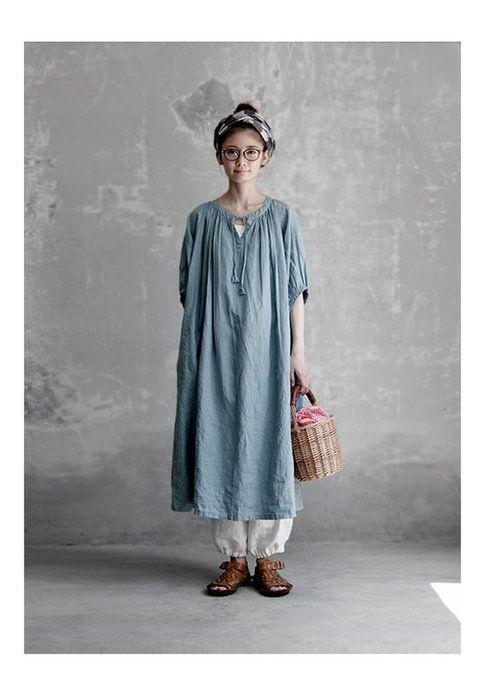 【送料無料】Joie de Vivreフレンチリネン草木染めファーマーズワンピース(ログウッド・梔子ブルー)