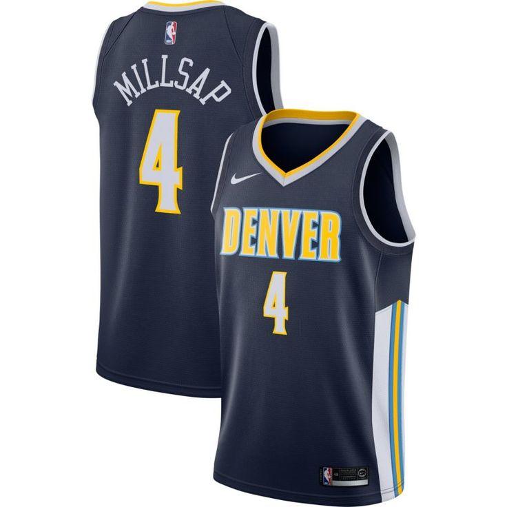 Nike Men's Denver Nuggets Paul Millsap #4 Navy Dri-FIT Swingman Jersey, Size: Medium, Team