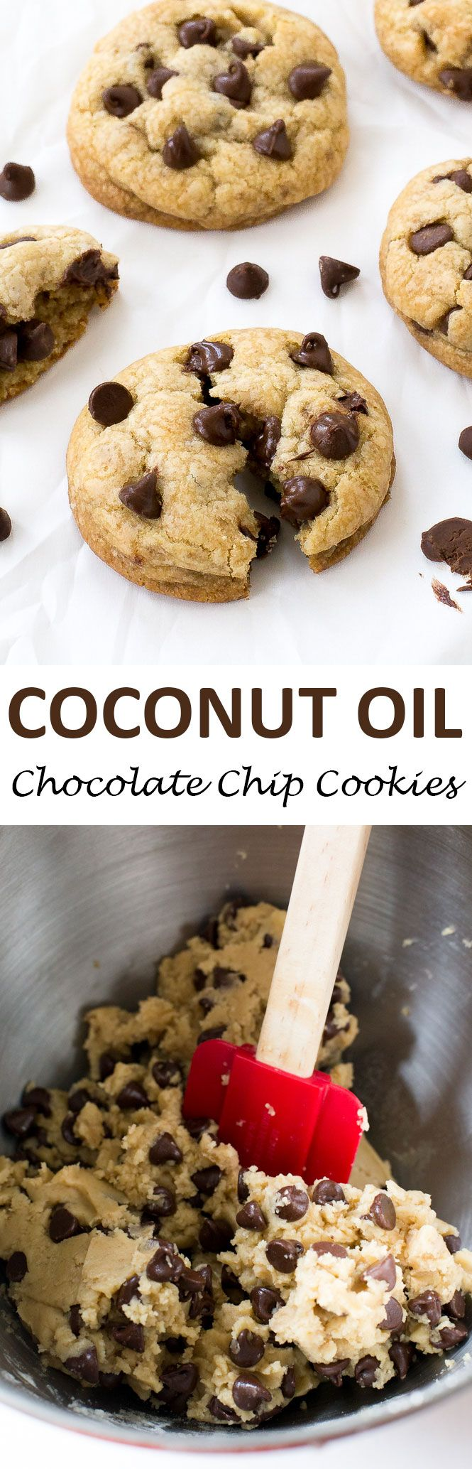 Coconut Oil Chocolate Chip Cookies made with coconut oil instead of butter. They are incredibly soft on the inside and firm on the edges. Thick and fluffy and loaded with tons of chocolate chips! | chefsavvy.com #recipe #coconut #oil #chocolate #chip #cookies #dessert