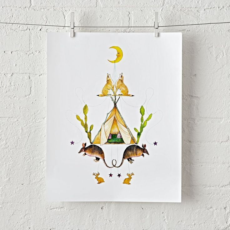 Shop Moon and Stars Unframed Wall Art.  This wall art features a teepee, cacti, desert animals, stars and a moon, all in a unique stacked design.  Designed by Stephanie King, it'll bring a bit of Southwestern beauty to your home décor.