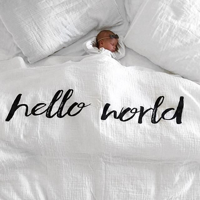 welcome, little one!   Hello World blanket from Modern Burlap