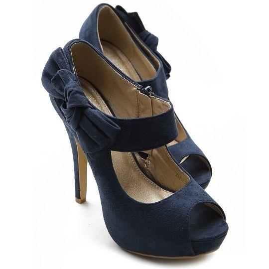 Cute navy blue high heels under 30$, cheap heeled shoes for women