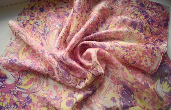 Silk Square Scarf Marbled Silk Scarf Handpainted by KatyaCoil