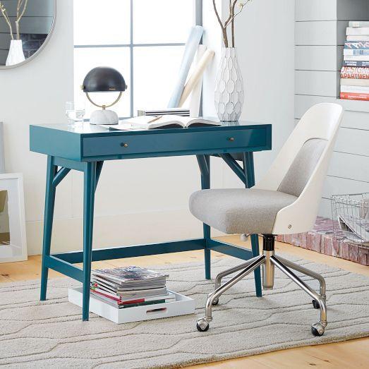Another cute small desk option. Love that blue color! Mid-Century Mini Desk – Thai Blue | West Elm