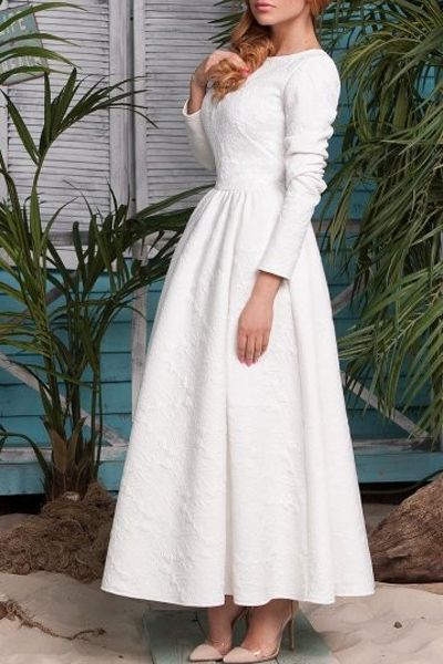Long Sleeve White Fit and Flare Maxi Dress