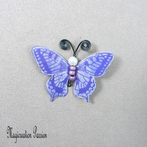 Papillon plastifié maéva violet et blanc 5 cm