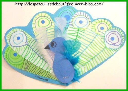 Il fait la roue ! Avec ses jolies plumes, il fait le beau. De jolis paons ont envahi mon couloir...des petits et des grands. Pour ce paon, du graphisme, des ronds et des traits sur des plumes découpées dans du papier bleu et vert. Les plumes sont assemblées puis agrafées . Les enfants ont choisi 3 vraies plumes puis assemblage des plumes/graphismes, des vraies plumes et du corps.