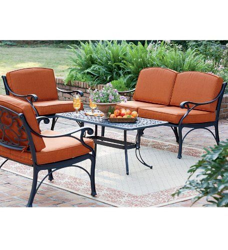 Bridgewater cast aluminum outdoor seating set with love seat 2 chairs coffee table and - Ways of accessorizing love seats ...