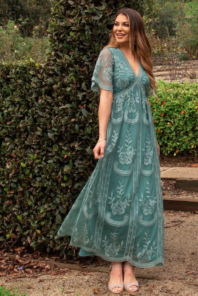 Open Back Maxi Gown Bohemian Maternity Dress Maternity Sage Dress Baby Shower Sage Dress Pregnancy Boho Dress Pregnancy Sage Dress