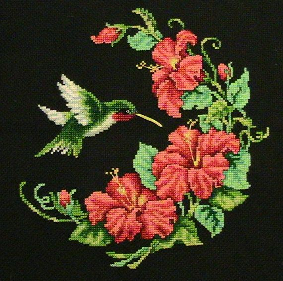Embroidered Cross Stitch Hummingbirds & by ThisNThatHodgePodge, $56.00