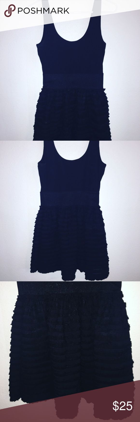 Miley Cyrus Black Mini Dress! Miley Cyrus Black Mini Dress with a ruffled skirt bottom! This is a fitted dress on top and it flows out to a ruffled skirt on bottom! Very comfortable *great condition* Miley Cyrus & Max Azria Dresses Mini