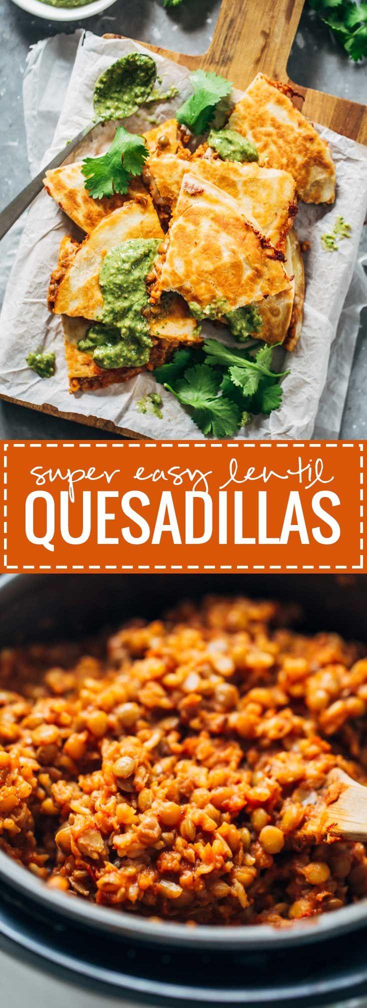 Quick and Easy Lentil Quesadillas - vegetarian comfort food!   pinchofyum.com