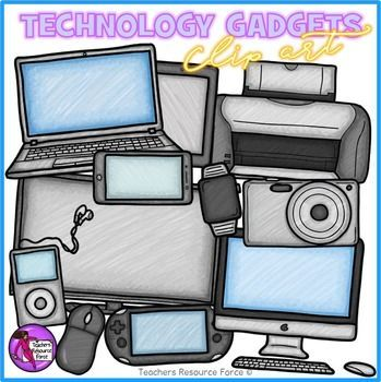 Technology gadgets clip art in a hand rendered crayon effect!A high quality set of hand rendered clip art containing a variety of different gadgets.This clip art set includes: TV Computer Laptop Wireless mouse Smartphone Tablet Smartwatch Digital camera MP3 player and ear buds Printer Portable gamerEach image is high quality 300dpi png with transparent edges and closely cropped: great for layering and color and black line is included! (Now includes a thinner line version…