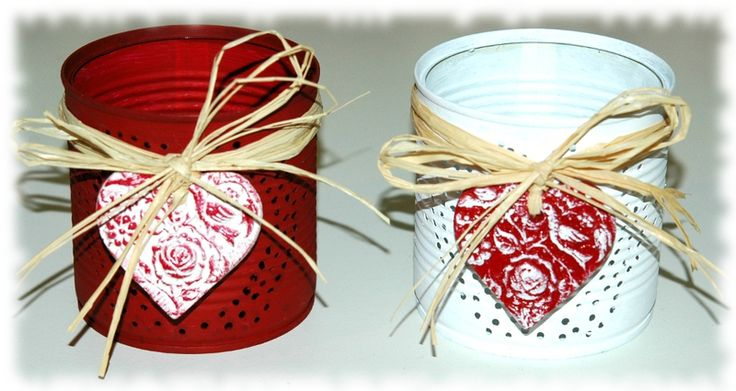 Photophore recyclage boite de concerve duo rouge et blanc