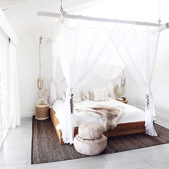 absolutely adore this image I styled for a few weeks back #collaboration #luxe #byronbay #thegrove #bedroom #dreamy #productstyling #leather #instahome #inspired #eventsvenue #lifestylephotography #whiteonwhite #interior #fur #pouffe #homelyhome #bednet #shells #lighting