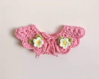 Collar de ganchillo | Crochet accesorios | Collar de chicas | Flor del ganchillo | Cuello Peter Pan